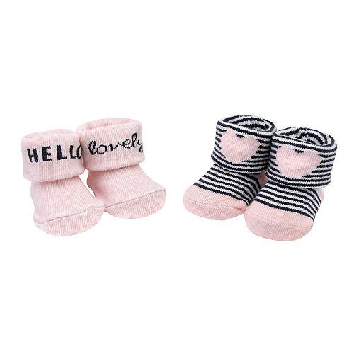 "Baby Girl Carter's 2-pack ""Hello Lovely"" Heart Keepsake Booties"