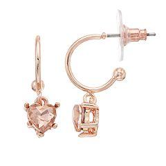 LC Lauren Conrad Pink Simulated Crystal Nickel Free Heart Drop Earrings
