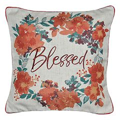 Spencer Home Decor 'Blessed' Wreath Embroidered Throw Pillow Cover