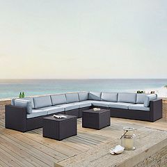 Crosley Furniture Biscayne Patio Wicker Loveseat, Chair & Coffee Table 7 pc Set