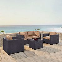 Crosley Furniture Biscayne Patio Wicker Chair & Coffee Table 5 pc Set