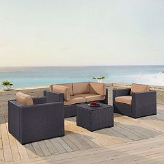 Crosley Furniture Biscayne Patio Wicker Chair & Coffee Table 5-piece Set