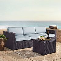 Crosley Furniture Biscayne Patio Wicker Loveseat, Corner Chair & Coffee Table 3 pc Set
