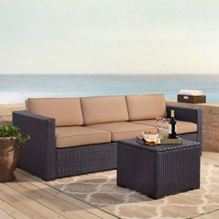 Crosley Furniture Biscayne Patio Wicker Loveseat, Corner Chair & Coffee Table 3-piece Set