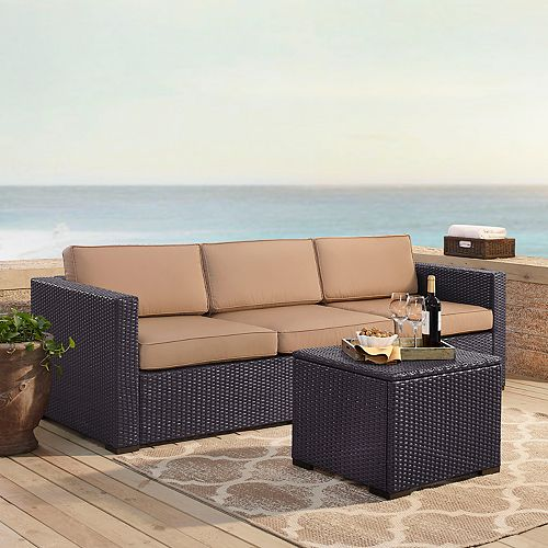 Amazing Crosley Furniture Biscayne Patio Wicker Loveseat Corner Cjindustries Chair Design For Home Cjindustriesco