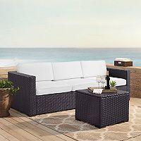 Crosley Furniture Biscayne Patio Wicker Loveseat, Corner Chair & Coffee Table 3 pc Set
