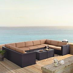 Crosley Furniture Biscayne Patio Wicker Loveseat, Armless Chair & Coffee Table 7-piece Set