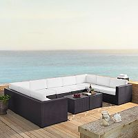 Crosley Furniture Biscayne Patio Wicker Loveseat, Armless Chair & Coffee Table 7 pc Set