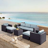 Crosley Furniture Biscayne Patio Wicker Loveseat, Chair, Ottoman & Coffee Table 7 pc Set