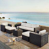 Crosley Furniture Biscayne Patio Wicker Loveseat, Chair, Ottoman & Coffee Table 7 pc Set