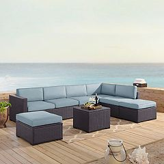 Crosley Furniture Biscayne Patio Wicker Loveseat, Chair, Ottoman & Coffee Table 6-piece Set