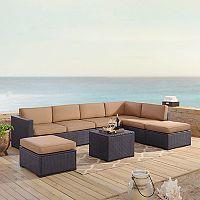 Crosley Furniture Biscayne Patio Wicker Loveseat, Chair, Ottoman & Coffee Table 6 pc Set