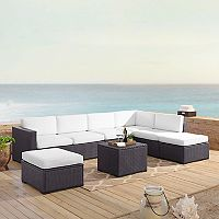 Crosley Furniture Biscayne Patio Wicker Loveseat, Chair, Ottoman & Coffee Table 6 pc Set