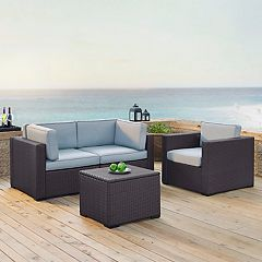 Crosley Furniture Biscayne Patio Wicker Chair & Coffee 4-piece Set