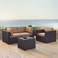 Crosley Furniture Biscayne Patio Wicker Chair & Coffee 4 pc Set