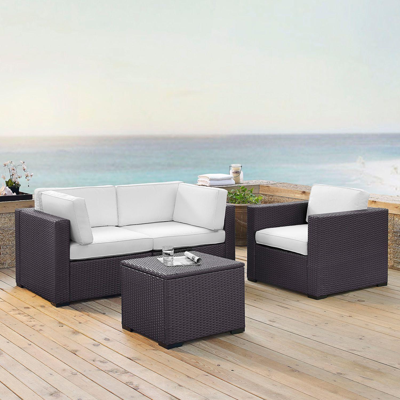 Crosley Furniture Biscayne Patio Wicker Chair U0026 Coffee 4 Piece Set