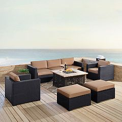 Crosley Furniture Biscayne Patio Wicker Loveseat, Chair, Ottoman & Fire Pit Coffee Table 7-piece Set