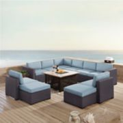 Crosley Furniture Biscayne Patio Wicker Loveseat, Chair, Ottoman & Fire Pit Coffee Table 8-piece Set