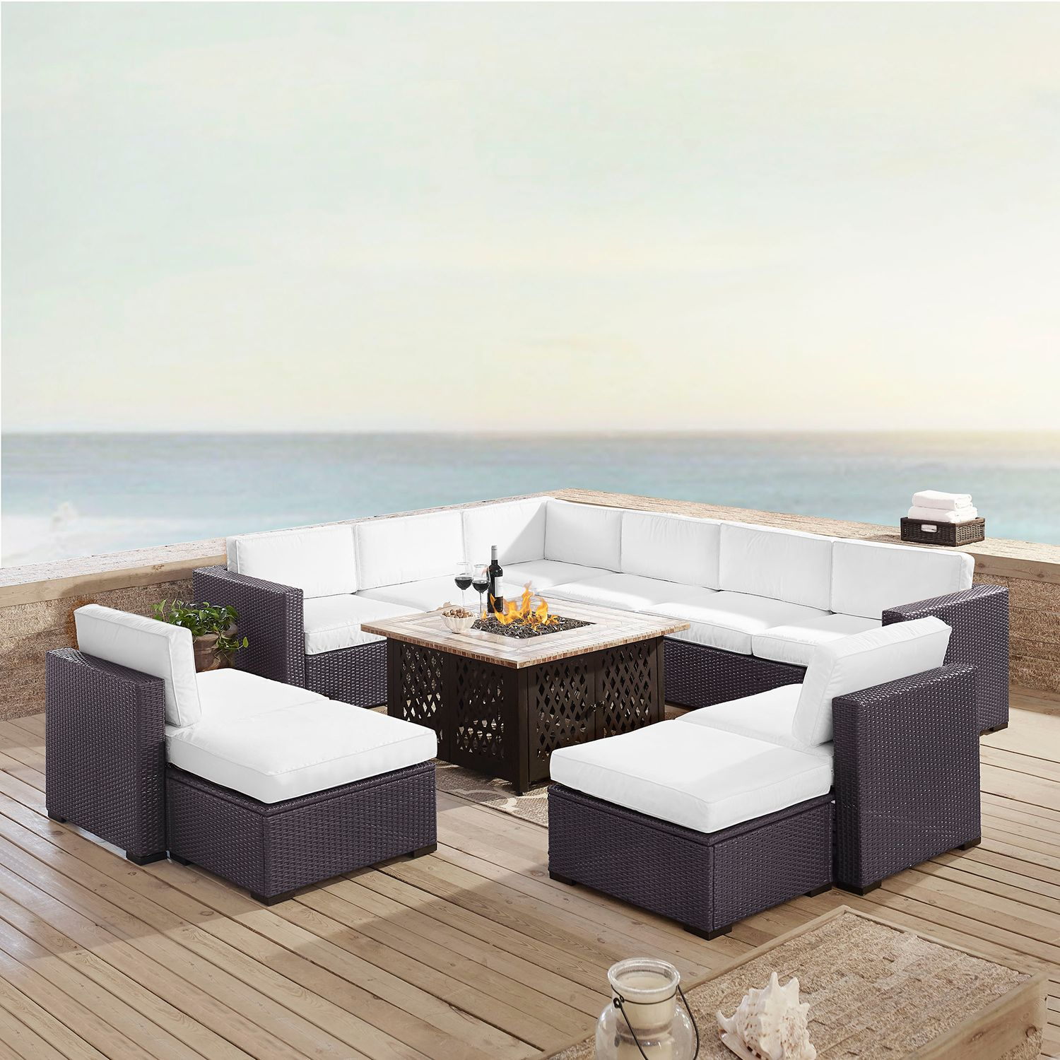 Crosley Furniture Biscayne Patio Wicker Loveseat, Chair, Ottoman U0026 Fire Pit  Coffee Table 8