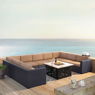 Crosley Furniture Biscayne Patio Wicker Loveseat, Chair & Fire Pit Coffee Table 6-piece Set
