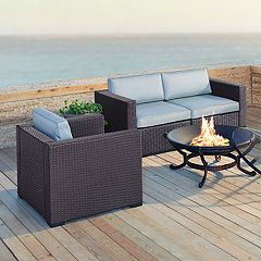 Crosley Furniture Biscayne Patio Wicker Chair & Fire Pit 6-piece Set