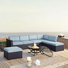 Crosley Furniture Biscayne Patio Wicker Loveseat, Chair & Fire Pit 8-piece Set