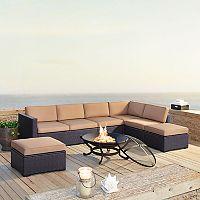 Crosley Furniture Biscayne Patio Wicker Loveseat, Chair & Fire Pit 8-piece Set