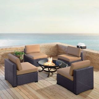 Crosley Furniture Biscayne Patio Wicker Chair & Fire Pit 7-piece Set