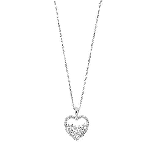 Simply Vera Vera Wang Sterling Silver 1/4 Carat T.W. Diamond Openwork Heart Pendant Necklace