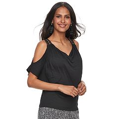 Women's Jennifer Lopez Grommet Cold-Shoulder Top