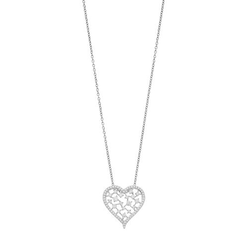 Simply Vera Vera Wang Sterling Silver 1/2 Carat T.W. Diamond Openwork Heart Pendant