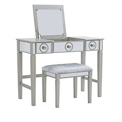 Linon Katarina Silver Finish Vanity & Bench 2-piece Set