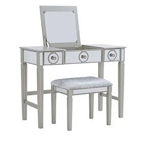 Linon Katarina Silver Finish Vanity & Bench 2-piece Set