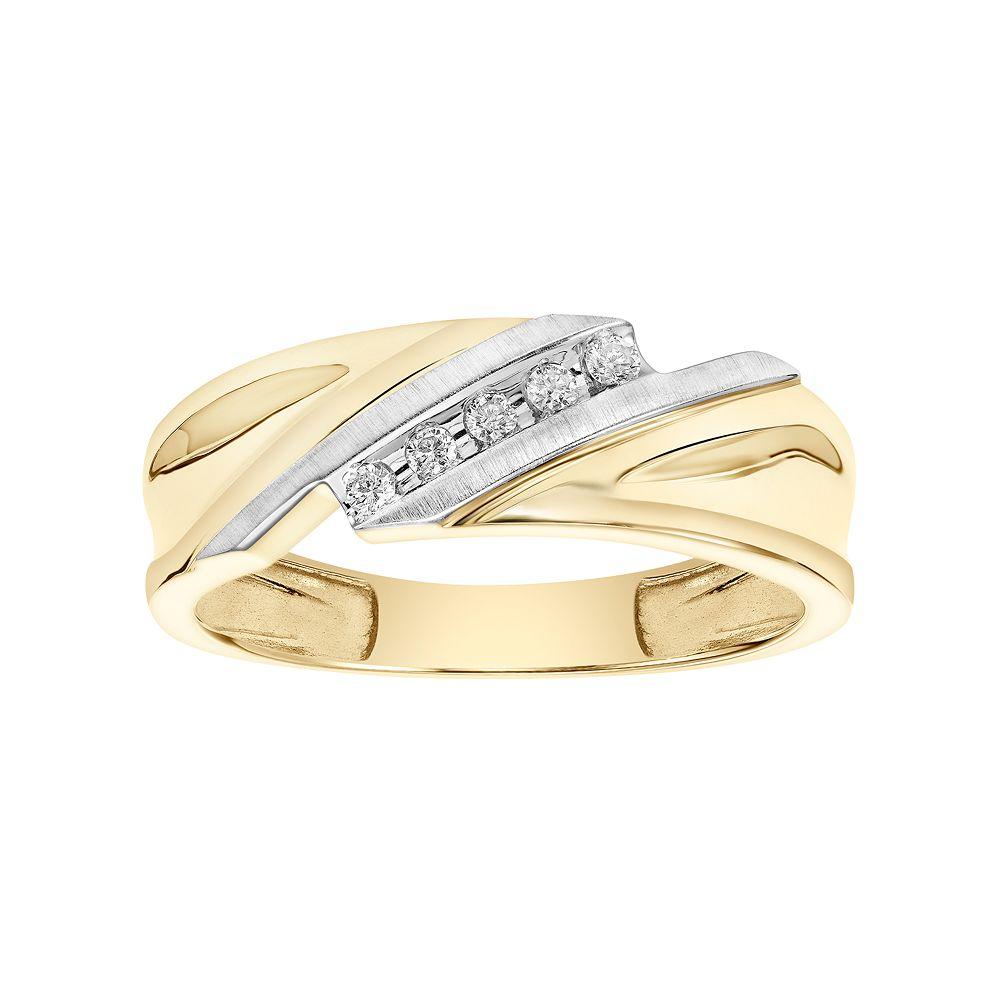 Lovemark Men's 10k Gold 1/10 Carat T.W. Diamond Bypass Wedding Band
