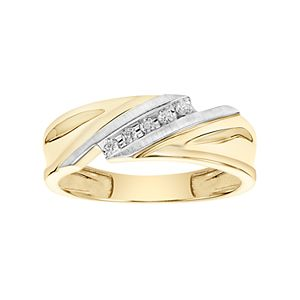 Lovemark Men's 10k Gold 1/10 Carat T.W. Diamond Bypass Wedding Band