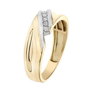Lovemark Men's 10k Gold 1/10 Carat T.W. Certified Diamond Bypass Wedding Band