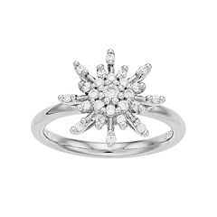 Simply Vera Vera Wang Sterling Silver 1/3 Carat T.W. Diamond Flower Ring