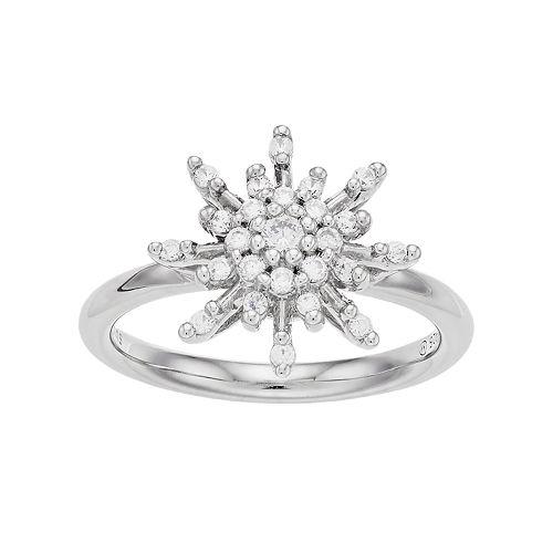 Simply Vera Vera Wang Sterling Silver 1/3 Carat T.W. Diamond Flower Ring