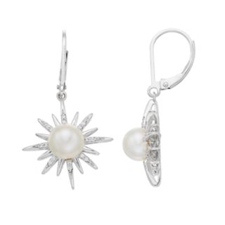 Simply Vera Vera Wang Sterling Silver Freshwater Cultured Pearl & 1/10 Carat T.W. Diamond Starburst Drop Earrings