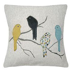 Spencer Home Decor Bird On Branch Jacquard Throw Pillow Cover
