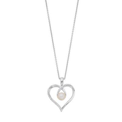 Simply Vera Vera Wang Sterling Silver Freshwater Cultured Pearl & 1/10 Carat T.W. Diamond Heart Pendant