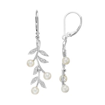 56ef7e45263ed Simply Vera Vera Wang Sterling Silver Freshwater Cultured Pearl & Diamond  Accent Leaf Drop Earrings