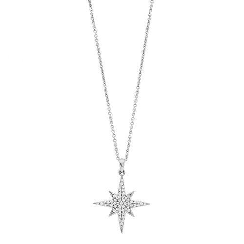Simply Vera Vera Wang Sterling Silver 1/4 Carat T.W. Diamond Starburst Pendant