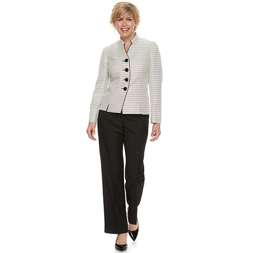 double coupon best cheap provide large selection of Women's Le Suit Tweed Mandarin Collar Jacket & Pant Suit