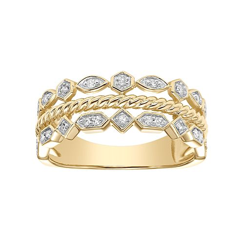 Lovemark 10k Gold 1/10 Carat T.W.  Diamond Geometric Wedding Ring