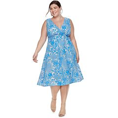 Plus Size Chaya Lace Print Fit & Flare Dress
