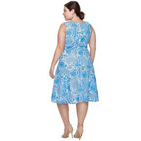 Plus Size Chaya Lace Print Fit & Flare Dress