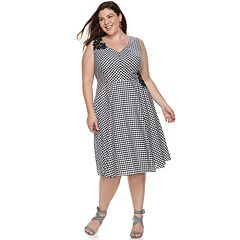 Plus Size Chaya Gingham Fit & Flare Dress