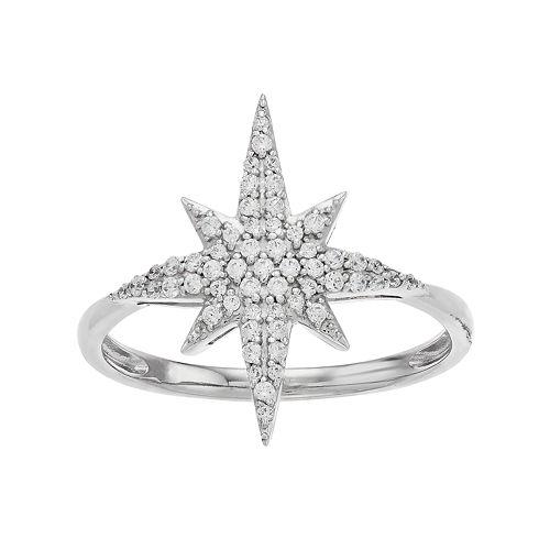 Simply Vera Vera Wang Sterling Silver 1/4 Carat T.W. Diamond Starburst Ring
