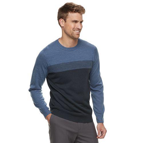 Men's Croft & Barrow® Classic-Fit Crewneck Color block Sweater